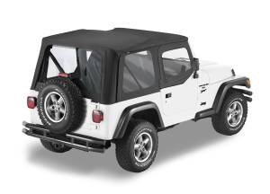 Bestop | Replace-A-Top For OEM - '88-95 Wrangler YJ (Black Sailcloth / Clear Windows / Upper Door Skins Included) | 79120-01